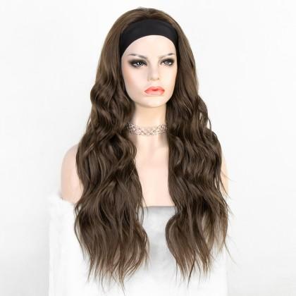 K'ryssma Brown Long Wavy Heat Friendly Fiber Hair Synthetic Headband Wig