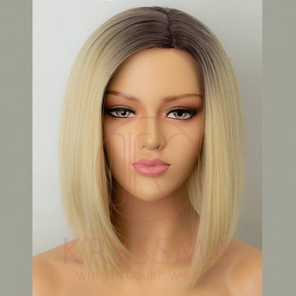 2 Tone Ombre Blonde Short Straight Bob None Lace Synthetic Wig for Women 14 inches