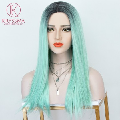 Ombre Green Long Straight Wig None Lace Wig with Dark Roots for Women 18 inches