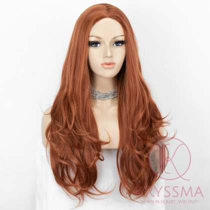 K'ryssma Long Wavy Synthetic Wigs for Women Copper Red Long Wig Heat Resistant 24 inches