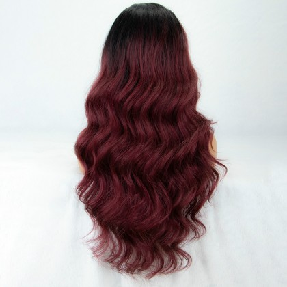 99j Lace Front Wig Ombre L Part Long Wavy Synthteic Wig Deep Side Parting Burgundy Wigs for Women Glueless Ombre Wig with Black Roots 22 inches