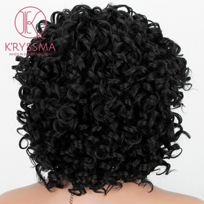 Black Short Short Bob curly Synthetic Wig Heat Resistant 12 inches