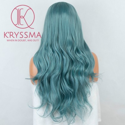 Green Long Wavy Lace Front Wig for Cosplay