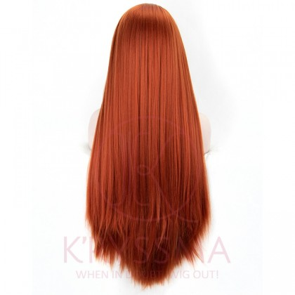 Long Straight Fashion Women's #360 Copper Red Lace Front Wigs 24 inches