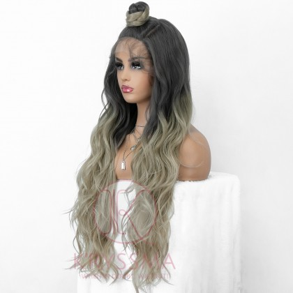 U Part Ombre Grey Long Wavy Synthetic Lace Wig with Dark Roots