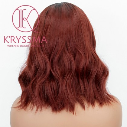 Ombre Copper Red Bob Synthetic Lace Front Wig with Dark Roots