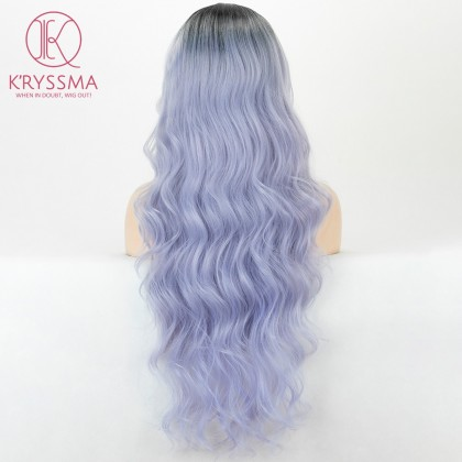 2 Tones Ombre Light Blue with Dark Roots Long Wavy Lace Front Wig 26 inches
