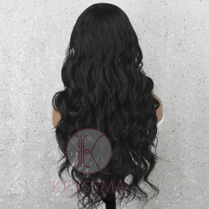 Black Long Wavy Synthetic Lace Front Wig Natural Looking Gluless Wig