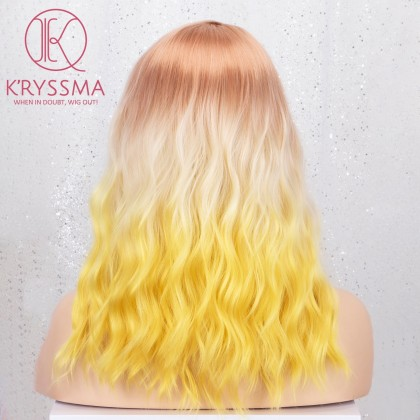 Colorful Ombre 3 Tones Orange to White to Yellow Short Bob Wavy None-Lace Wig