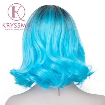 Blue Ombre Short Bob Synthetic None-Lace Wig with Dark Roots Heat Resistant