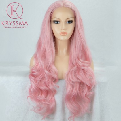 Baby Pink Long Wavy Lace Front Wig 22 Inches