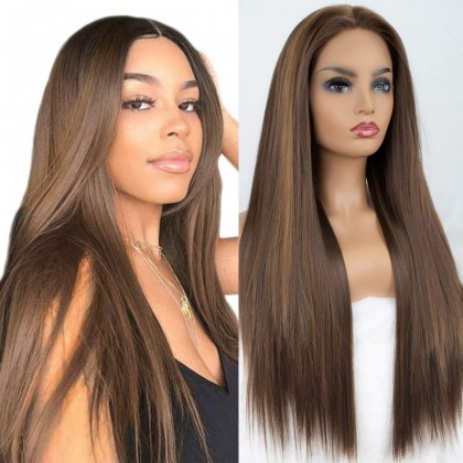 Brown with Highlights Silk Straight Synthetic Lace Front Wigs 24 Inches