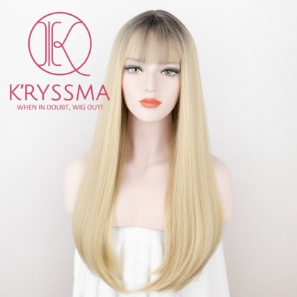 Ombre Blonde Long Straight Synthetic None-Lace with Bangs 20 inches