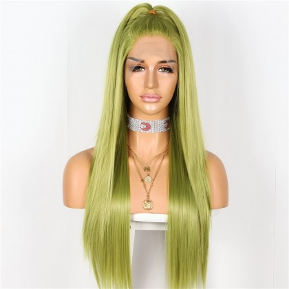 Long Straight Green Lace Front Wig for Halloween, Cosplay Wig