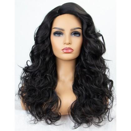 K'ryssma Natural Black Wavy None Lace Wig