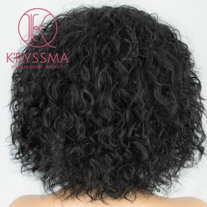 Short Bob Black None Lace Synthetic Wig for Women 8 inches