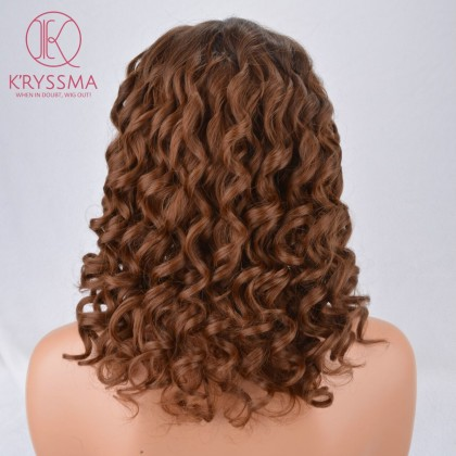 Brown Short Bob Curly Synthetic None-Lace Wig Heat Resistant 12 inches