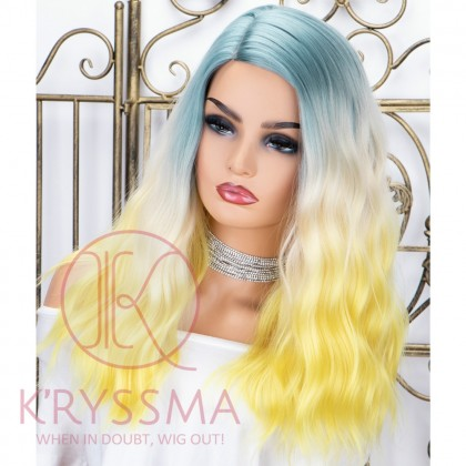 Colorful Short Bob Wigs 3 Tones Ombre Synthetic Wig Blue to White to Yellow Wavy Bob Wig with Side Parting Full Machine Wefting Wig