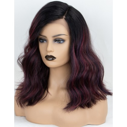 Ombre Bungundy Wavy L Part Wig Shoulder Length Wine Red Synthetic Wigs