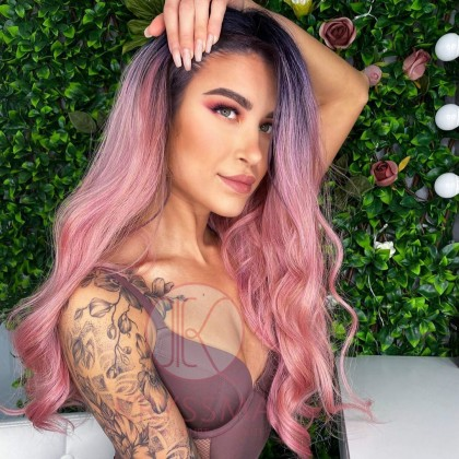 Pink Lace Front Wig Ombre with Dark Roots T Part Medium Length Wavy Synthetic Wigs