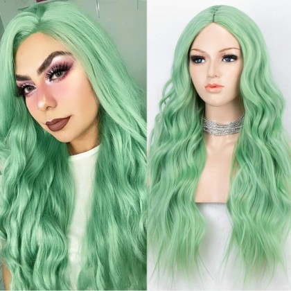K'ryssma Mint Green Wig for Women Long Wavy Synthetic Wig Middle Part Heat Resistant Glueless Synthetic Green Wigs 22 inches