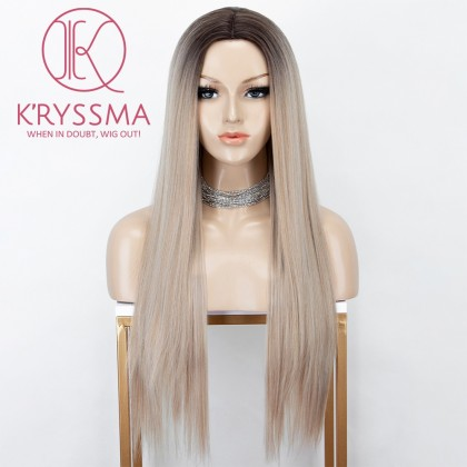 Ombre Blonde None Lace Wig With Dark Roots Straight Long Synthetic Wigs With Deep Middle Parting For Women 22 Inches