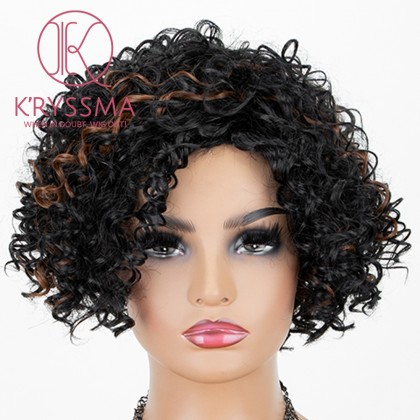 Natural Black Mixed Blonde Lace Front Wig Short Curly Synthetic Wig Glueless Heat Resistant Wigs For Women