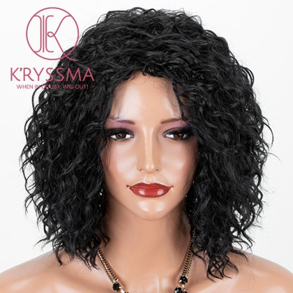 Natural Black #1B Lace Front Wig 99j Curly Synthetic Wigs Glueless Heat Resistant Short Wig For Women