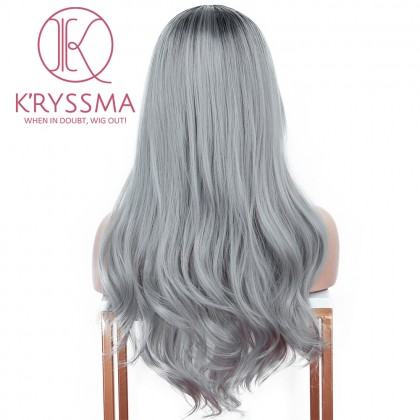 Ombre Grey Synthetic Wig With Dark Roots Long Wavy None Lace Wig Heat Resistant 20 Inches Glueless Ombre Gray Wigs For Women