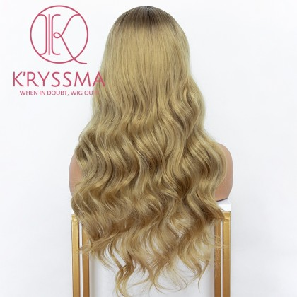 Ombre Ash Blonde None Lace Wig With Dark Roots Long Wavy Synthetic Wigs Glueless 2 Tones Blonde Wigs For Women Heat Resistant