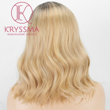 Ombre Blonde None Lace Wig With Dark Roots Short Wavy Bob Wig Glueless Side Part Synthetic Wigs For Women Heat Resistant