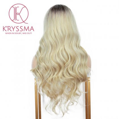 2 Tones Ombre Blonde Long Wavy Synthetic Wig with Dark Roots  Middle Part 22 Inches
