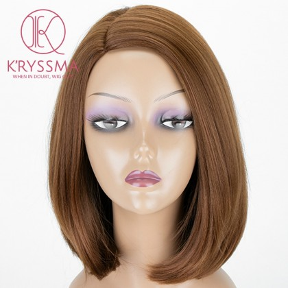 Brown Shrot Bob Straight L Part Synthetic Wig Heat Resistant 14 inches