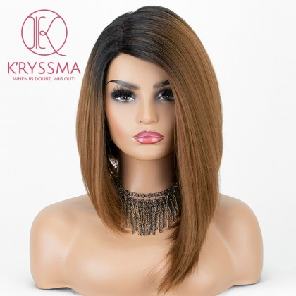 Ombre Brown Dark Roots with Bangs Straight Glueless Heat Resistant Wig 16 Inches
