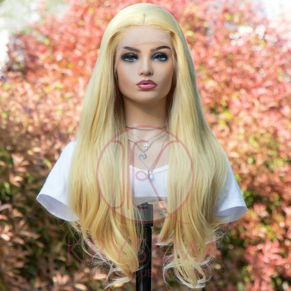 NEW ARRIVAL Long Light Blonde Natural Straight Lace Front Wig 22 inches