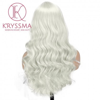 Ash Platinum Blonde Wig Heat Resistant Wavy Synthetic Wig With Middle Part Long Blonde Wigs for Women 18 Inches