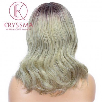 Ash Blonde None Lace Wig Highlight Colored Short Wavy Bob Synthetic Wig With Middle Part New Blonde Ombre Wigs Mix Grey