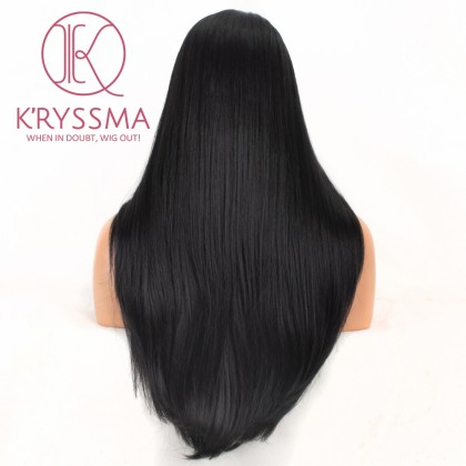 Natural Black #1B Lace Front Wig Straight Long Synthetic Wig Glueless Heat Resistant Wigs For Women