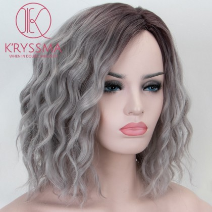 Ombre Grey None Lace Synthetic Wig With Dark Roots Short Wavy Bob Wig Heat Resistant Glueless Gray Wigs For Women