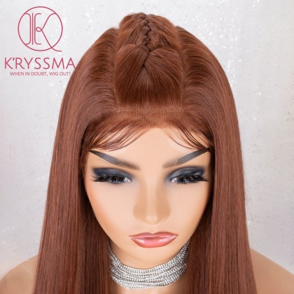 13x6 Copper Red Natural Hairline Long Straight Synthetic Lace Front Wig 24 Inches