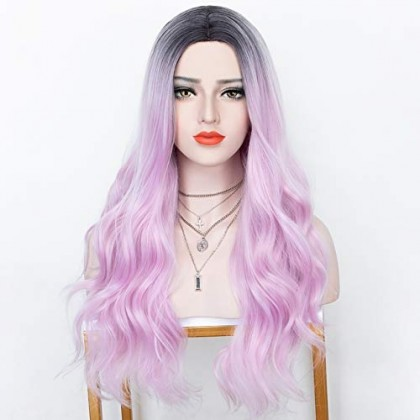 2 Tones Ombre Pink Long Wavy Synthetic Glueless Heat Friendly Wigs 20 Inches