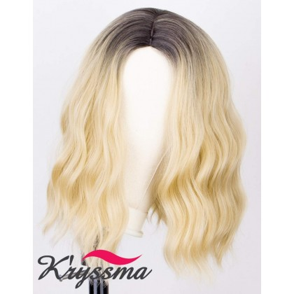 2 Tones Ombre Bob Wig Blonde Dark Roots Short Bob Wig Wavy Glueless Heat Resistant