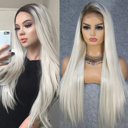 13x6 Ombre Blonde Natural Hairline Deep Free Parting Long Silk Platinum Lace Front Synthetic Wig