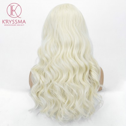 Blonde Long Wavy None Lace Synthetic Wig for Women 20 inches