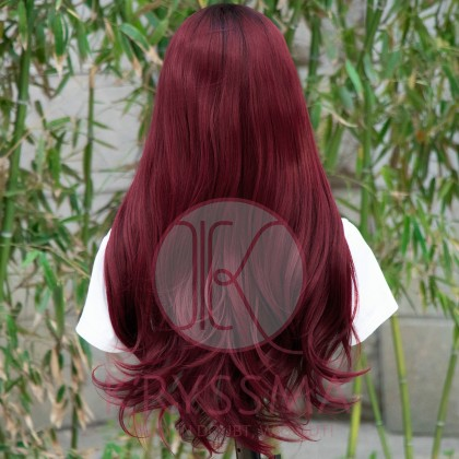 NEW ARRIVAL! Red Long Natural Straight Lace Front Wig Ombre Synthetic Wigs with Dark Roots