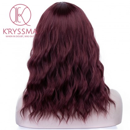 New Burgundy Short Wavy Bob Synthetic Glueless Middle Part Wig Heat Friendly Wig