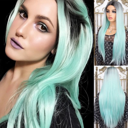 Ombre Mint Green Synthetic None-Lace Wigs 22 Inch