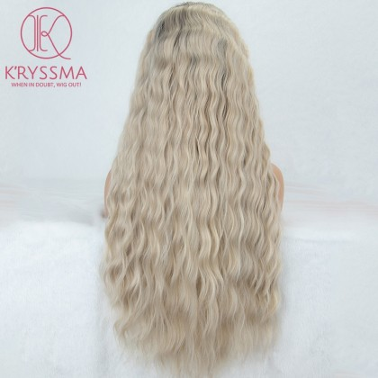 Platinum Blonde Long Wavy Lace Front Wig 22 Inches