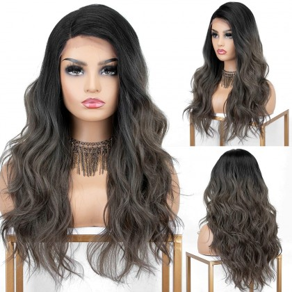Ombre Dark Brown Lace Front Wigs with Highlights 18 inches Long Wavy Synthetic Wig Deep Side Parting Brown Ombre Wig with Black Roots