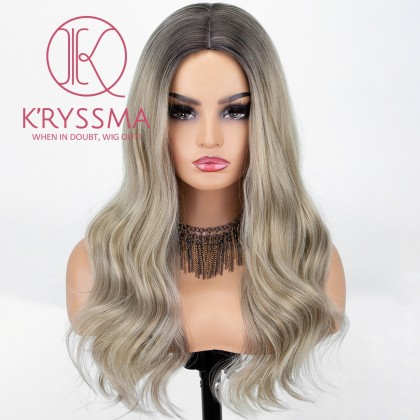 Ash Blonde None Lace Wig With Dark Roots Long Wavy Synthetic Wig 18 Inches Middle Parting Ombre Blonde Wigs For Women Heat Resistant